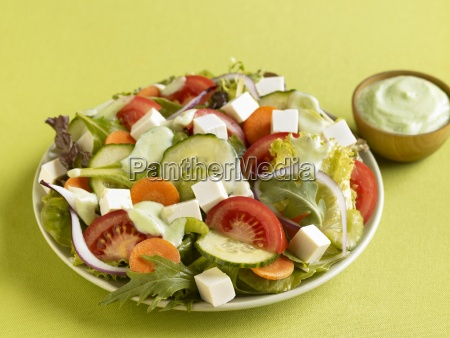 vegetable salad with tofu cubes and