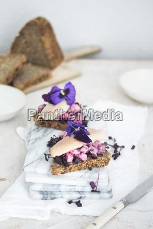 danish smoerrebroed with beetroot salad and