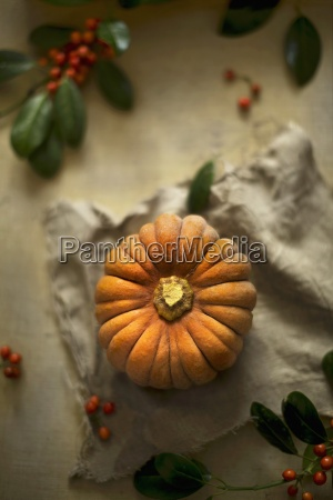 a whole muscat pumpkin with berries