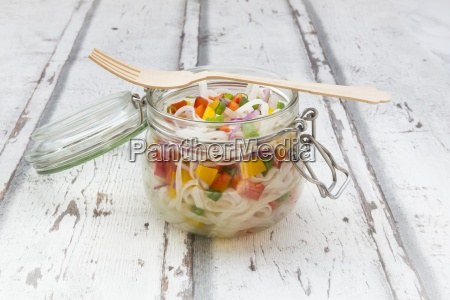 glass noodle salad with yellow and