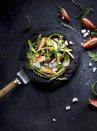 black food pizza black pizza asparagus