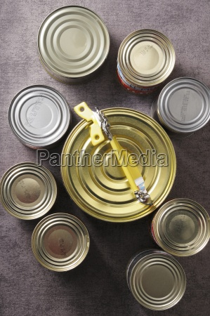 various tins of food with a
