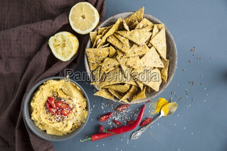 spicy crackers with turmeric hummus seen