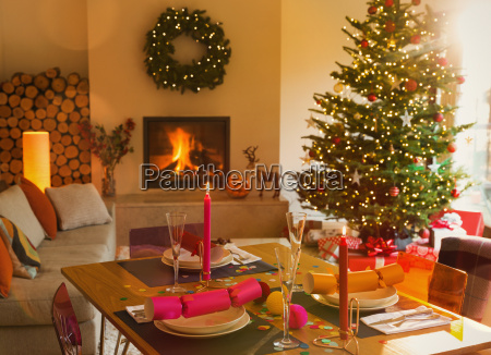 ambient dining table fireplace and christmas