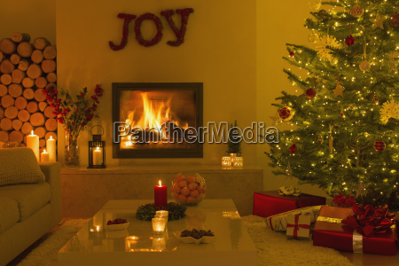 ambient fireplace and candles in living