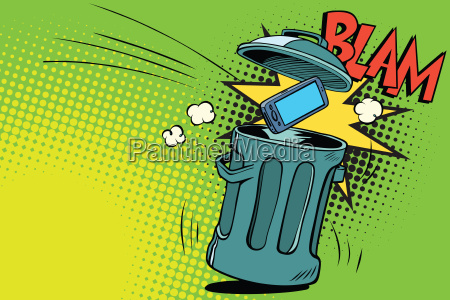 smartphone thrown in the trash