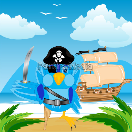 bird pirate ashore tropical island