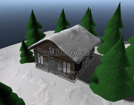 ski hut under blue sky