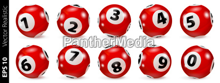 red lottery number balls isolated