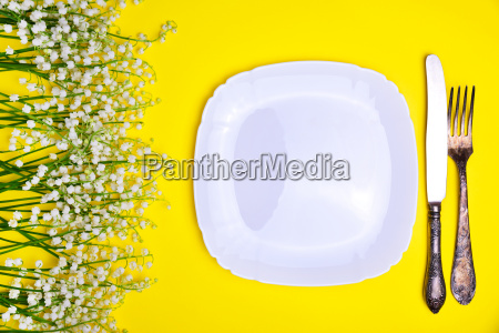 white plate and iron cutlery