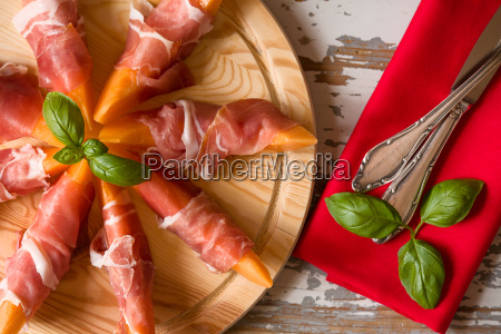 close up of italian appetizer with