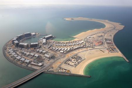 dubai daria island island aerial view