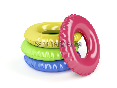 swim rings with different colors