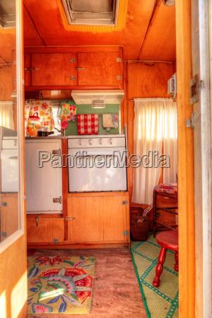 small retro caravan camper used as