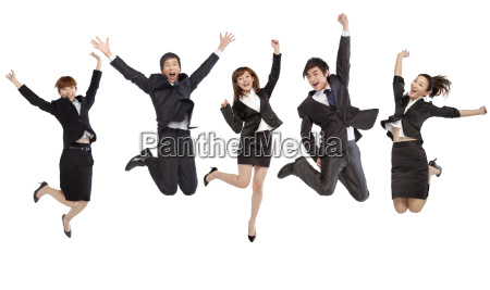 five people jumping
