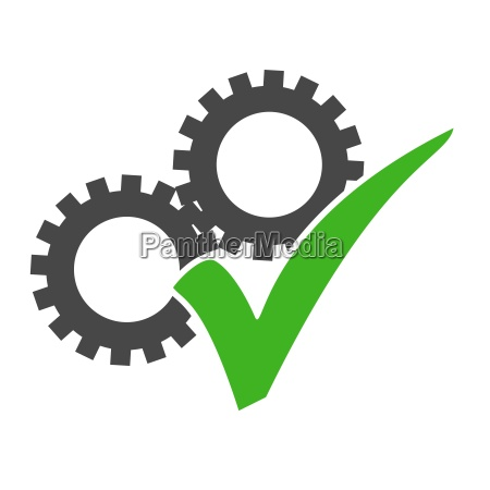 cog icon with green check mark