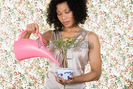 woman watering houseplant