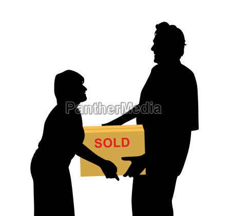 happy buyers woman and man carrying