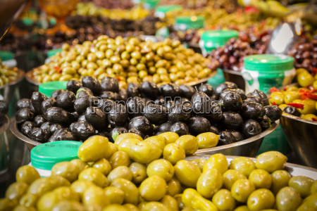 olives at a market stall a
