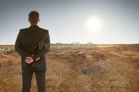 back view of asian businessman on