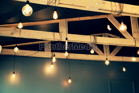 vintage style light bulbs hanging from