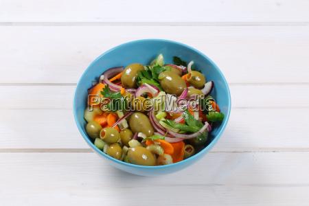 vegetable salad with pickled olives
