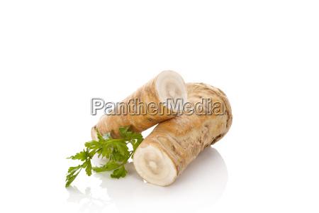 horseradish isolated on white background