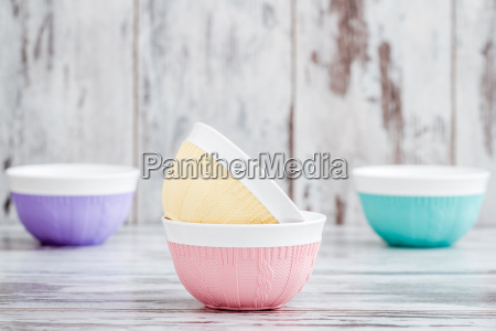 colorful bowls with knitting design