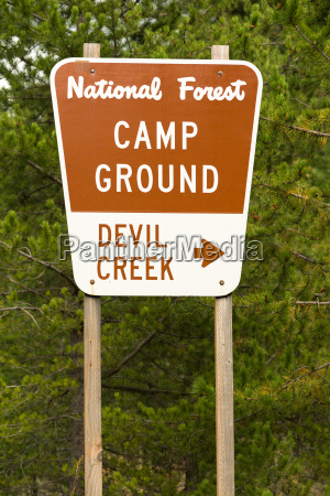 national forest sign devil creek campground