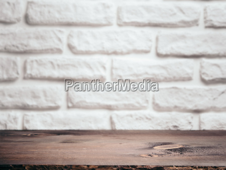 empty wooden table over white