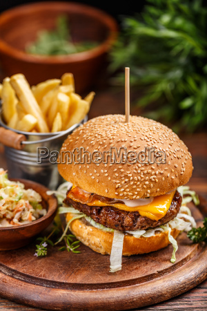 fresh burger with cheese