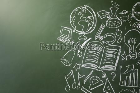 drawn symbols of school subjects on
