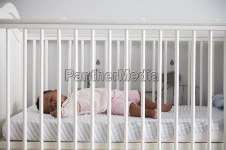 side view of baby girl sleeping