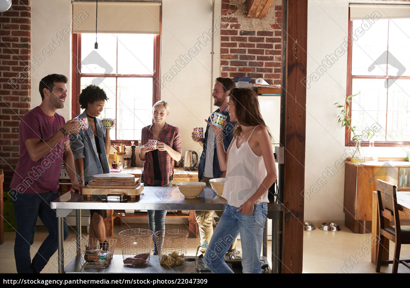friends, talking, over, coffee, in, kitchen, - 22047309