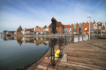poland gdansk view to skyline with