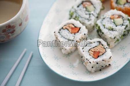 sushi rolls on a plate with