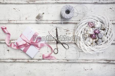 christmas decoration scissors and christmas present