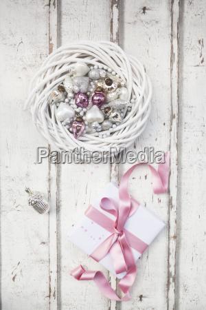 christmas decoration and christmas present on