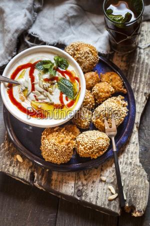millet falafel with spicy mint yogurt