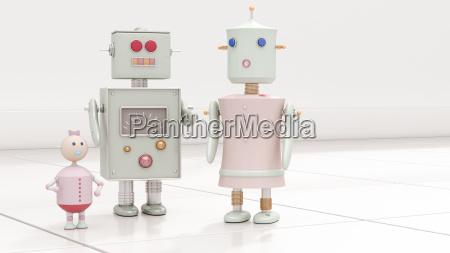 robot family 3d rendering