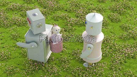 robot family in meadow 3d rendering