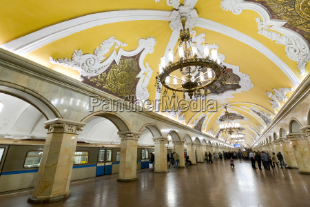 komsomolaskaya metro station moscow russia europe