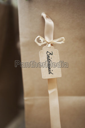 close up of handwritten name tag
