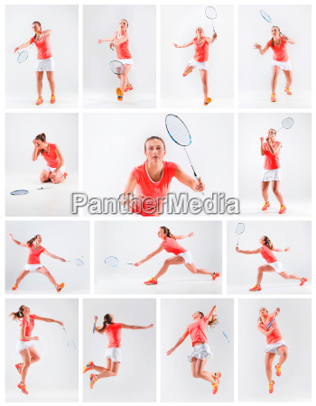 young woman playing badminton over white