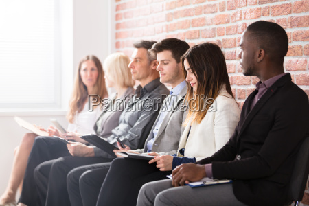 businesspeople waiting for an interview