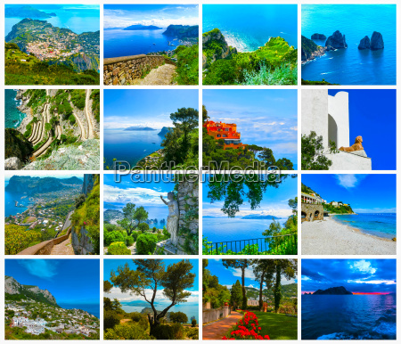 collage from views of capri beautiful