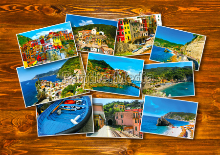 collage of cinque terre photos in