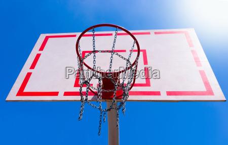 outdoor basketball hoop with blue sky