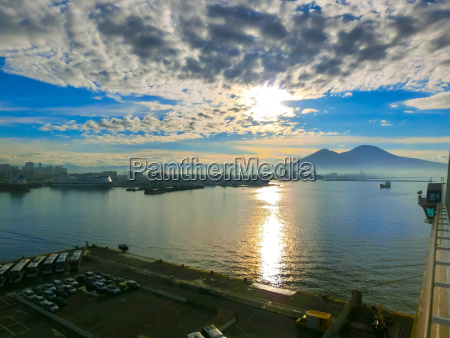 panorama of naples view at port