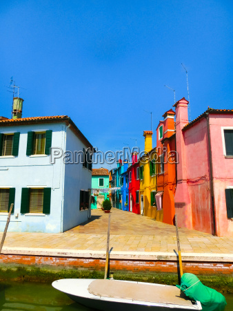 burano venice italy colorful old